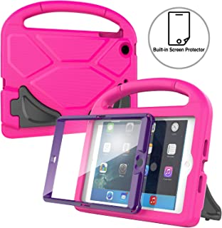 AVAWO Kids Case Built-in Screen Protector for iPad Mini 1 2 3 - Light Weight Shock Proof Handle Stand Kids for iPad Mini 1st Generation, iPad Mini 2nd Generation, iPad Mini 3rd Generation-Rose+Purple