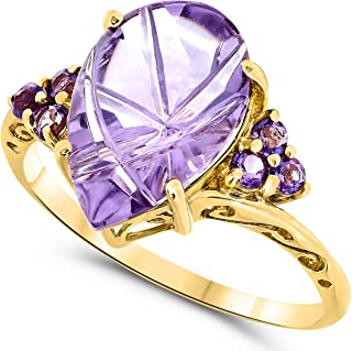 10k Yellow Gold Pear Shape Cabochon Purple Amethyst Carved Gemstone Bypass Ring For Women