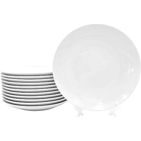 Lot de 12 assiettes plates en porcelaine véritable Ø 270 mm Blanc Idéal pour peindre (vaisselle de table pour la restauration et la maison)