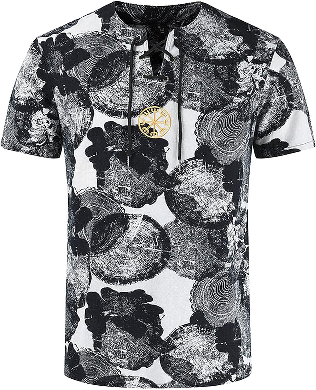 FUNEY Mens African Dashiki T Shirts Short Sleeve V-Neck Drawstring Tribal Floral Print Linen Henley Shirt Hippie Summer Tops