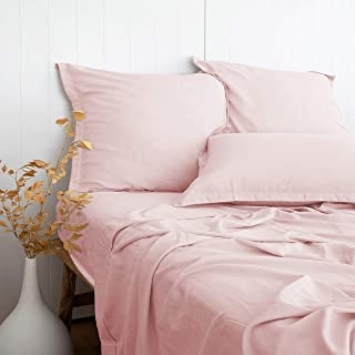 """PANDATEX Ultra Comfortable Linen Textured 55% Bamboo 45% Cotton Sheets Set, Pink Full Size, Cool & Moisture Wicking Breathable & Durable, Naturally Organic Fit Mattress 16"""" Deep Pocket"""