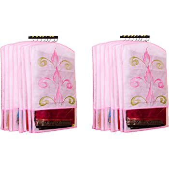 Atorakushon® Fabric Printed Hanging Saree Cover Wardrobe Organiser Pack of 12