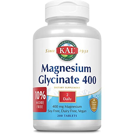 KAL Magnesium Glycinate 400   Vegan, Chelated, Non-GMO, Soy, Dairy, and Gluten Free (200 CT)