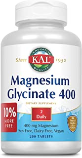 KAL Magnesium Glycinate 400 | Chelated, Non-GMO, Soy, Dairy, and Gluten Free (200 CT)
