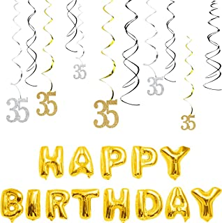MAGJUCHE 35th Birthday Decorations Kit-Gold Silver Glitter Happy 35 years old Birthday Banner & Sparkling Celebration Hanging Swirls, Party Supplies