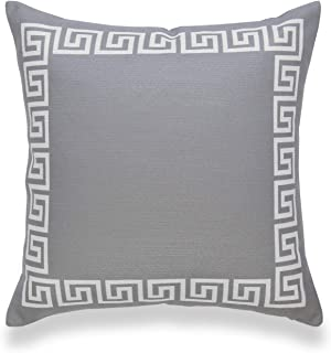 "Hofdeco Neutral Decorative Throw Pillow Cover ONLY, for Couch, Sofa, or Bed, Dark Gray Greek Key, 18""x18"""