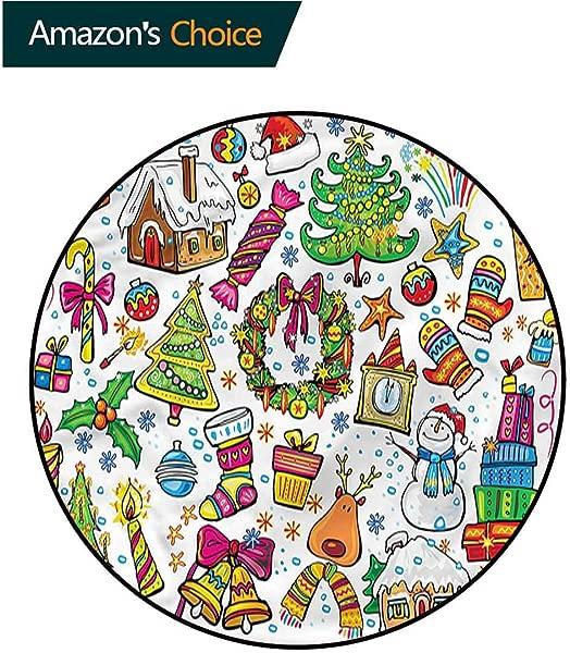 RUGSMAT 圣诞现代可机洗圆形浴垫新年糖果区地毯适合任何地方直径 59
