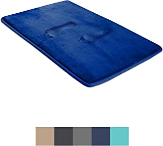 BigFoot Memory Foam Bath Mat 17 x 24 for Tub and Shower, Water Absorbent Non-Slip Bathroom Rug with Soft Velvet Top Layer, Thick Cushioning Foam with PVC Dot Bottom Layer Keeps Floors Dry, Navy