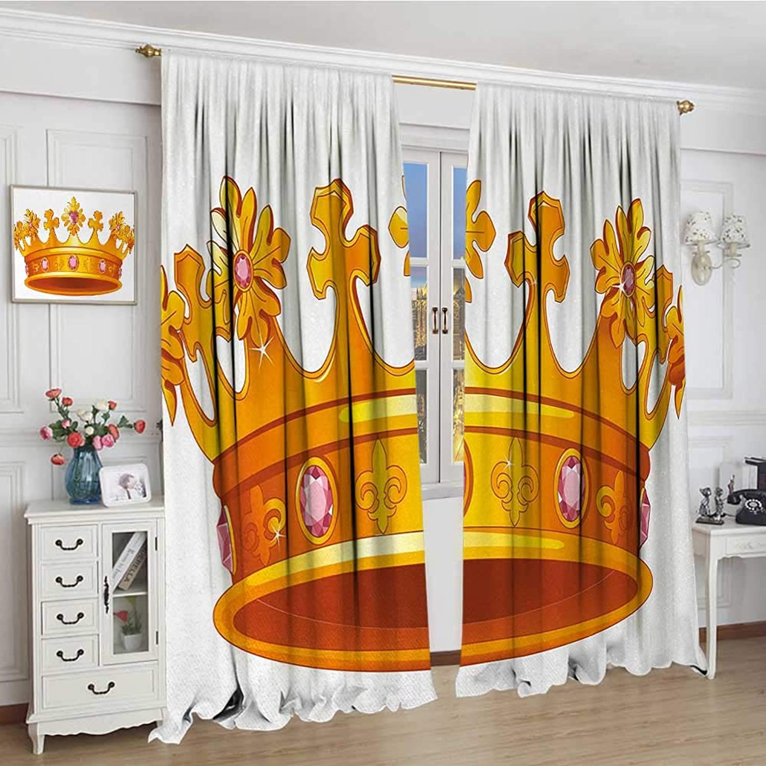 Smallbeefly Queen Thermal Insulating Blackout Curtain Crown with Pale Pink Gemstone Figures Antique Tiara Nobility Symbol Cartoon Decorative Curtains for Living Room 96 x96  orange and pink