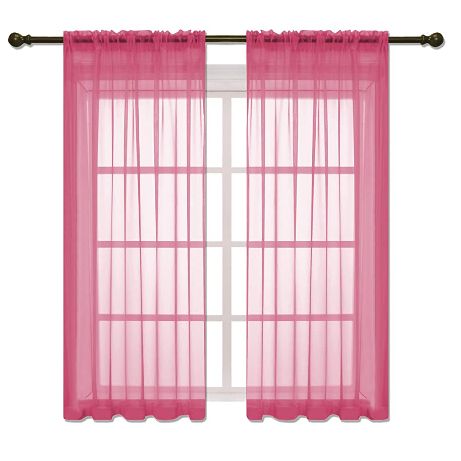 HOLKING Rod Pocket Sheer Curtains 63 inch for Bedroom Living Room Window Treatment Set Hot Pink Curtains,2 Panels Each is 52 inches Wide by 63 inches Long