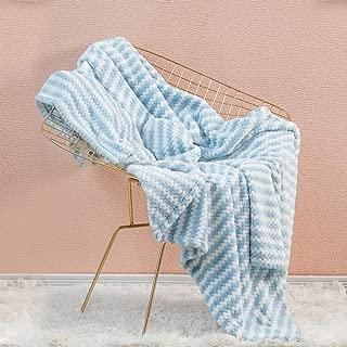 Simple&Opulence Dot Velvet Throw Blanket Super Soft with Blue and White Stripe