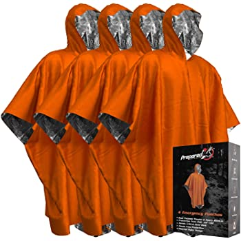 Emergency Blanket Poncho - Keeps You and Your Gear Dry and Warm   Survival Gear and Equipment for Outdoor Activity   Camping and Hiking Gear   Thermal Mylar Space Rain Ponchos   4 Pack (Orange)