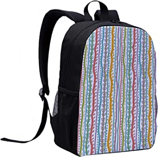 Striped Stylish Backpack,Vertical Abstract Featured Swirl Lines Curved Stylish Sketchy Bands and Dots Display for School Travel,12″L x 5″W x 17″H