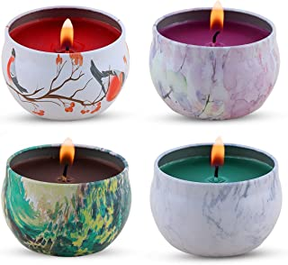 KitchenGynti Scented Candles Gift Set - Lavender, Rose, Tea Tree and Peppermint, Candle Soy Wax for Stress Relief and Aromatherapy, Candles - 4 Pcs