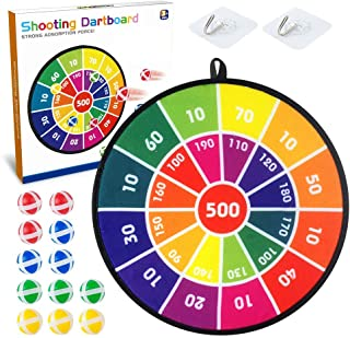 Baodlon Kids Dart Board Game Set - 14 Inches Dart Board for Kids with 12 Sticky Balls - Darts Board Set with Colorful Box ...