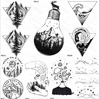 Bulb Glass Mountain Pine Tree Temporary Tattoos Sticker Triangle Wave Tattoo Body Art Arm Black Small Fake Tatoos 10X6Cm 7Pc