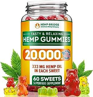 Hemp Gummies 20000MG - Premium Hemp Gummy Bears for Stress & Anxiety Relief - Made in USA - Hemp Extract Natural Calm Gummies - Efficient with Inflammation, Stress & Sleep Issues - Omega 3 Gummies