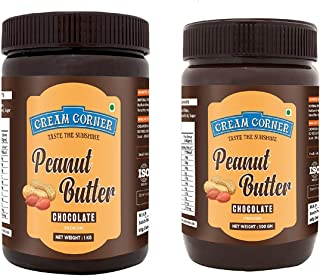 CREAM CORNER Peanut Butter Combo Chocolate + Chocolate Spread All Natural High Protein Nut Butter Healthy Snack (1Kg+500g)