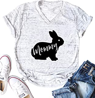 Easter Mommy Bunny Shirt Cute Mama Rabbit Graphic Tees Women V-Neck Letter Print Short Sleeve T-Shirt Tops