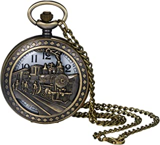 Pocket Watch for Men and Boys Vintage Bronze Locomotive Decorative Hollow Case Arabic Numeral Dial Quartz Analog Pocket Watch with Chain for Halloween Costume Party Christmas