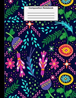 Composition Notebook: College Ruled - 8.5 x 11 Inches - 100 Pages - Birds & Flowers Design