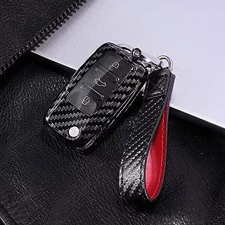 Royalfox(TM) 2 3 Buttons Carbon Fiber Texture flip Remote Key Fob case Cover for VW Volkswagen Jetta GTI Passat Golf Bora Polo Tiguan Touareg Beetle Multivan Sagitar Passat,Skoda (for vw Old Key)