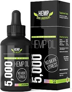 Hemp Oil 5000 MG - 100% Natural Anxiety & Stress Relief - Made in USA - Immune Booster - Anti-Inflammatory - Calm Sleep & ...
