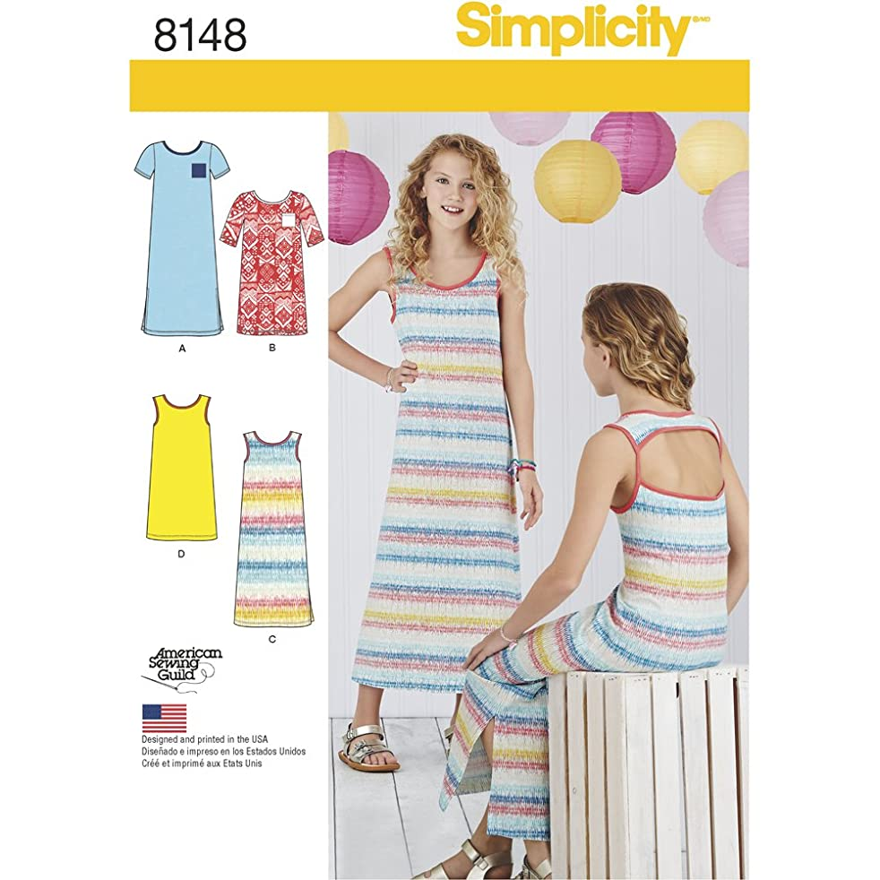 Simplicity Patterns Simplicity Creative Patterns 8148 Girls' Knit Dresses Each in Two Lengths, Size: A (8-10-12-14-16)