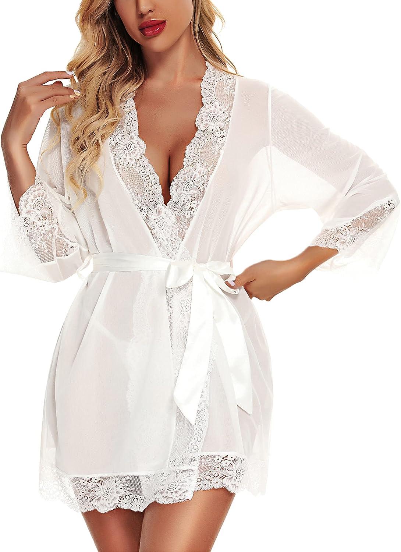 RSLOVE Women Lace Kimono Robe Babydoll Chemise Lingerie Bride Robe for Wedding Party