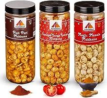 N Nakodas Nakodas Roasted Makhana Combo - Peri Peri, Spanish Tangy Tomato, Magic Masala Fox Nuts (70gm Each, Pack of 3)