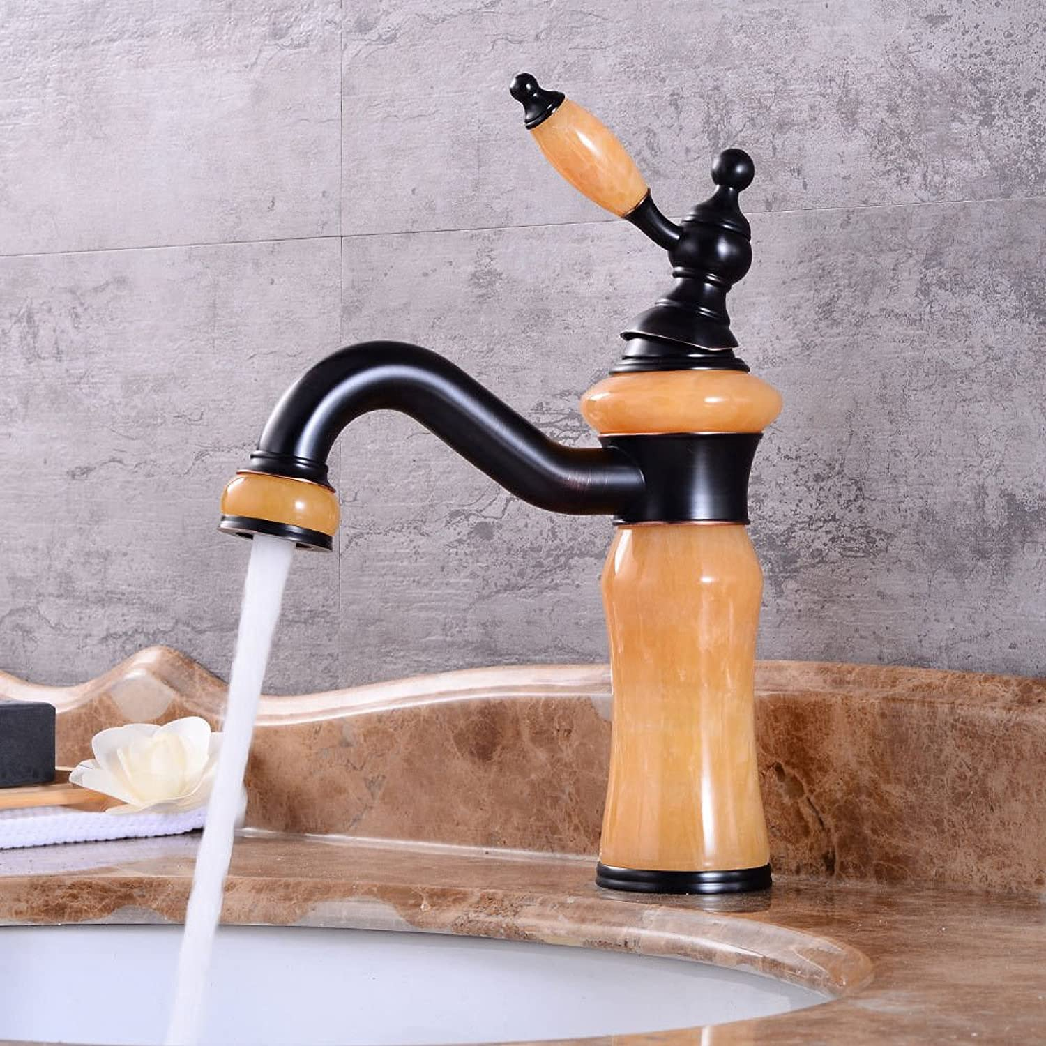 AQMMi Bathroom Sink Mixer Tap Black Antique Jade Hot and Cold Water Swivel Taps for Bathroom Sink