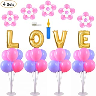 AXHJ DIY Balloon Table Stand Kit 4 Set (7 Sticks 7 Cups 1 Base), No Helium Balloon Stand,Clear Table Desktop Holder with 1 Pump, 5 Clip, 1Glue Dot(100) for Party Wedding Birthday Xmas Festival Decorations