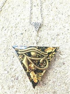 Ciondolo orgonite Triangolo Occhio di Horus oro 24 K, shungite. Creazione artigianale, fatto a mano artigianale.Reiki, Cha...