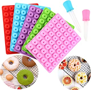 Mujiang 5 PCS Donut Silicone Gummy Mold Mini Donut Ring Chocolate Candy Molds With 2 Droppers