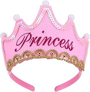LUOEM Sombreros de fiesta de cumpleaños con luz LED Gorras de fiesta de princesa Crown King