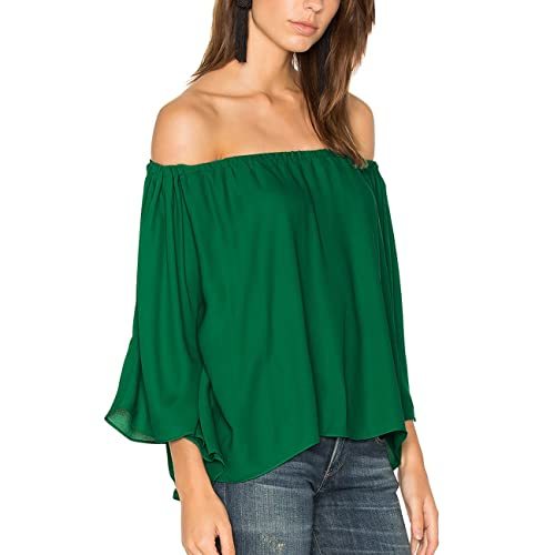 4beb6a907c4 ALLY-MAGIC Women's Chiffon Off Shoulder Tops Short Sleeves Shirts Casual  Strapless Blouses