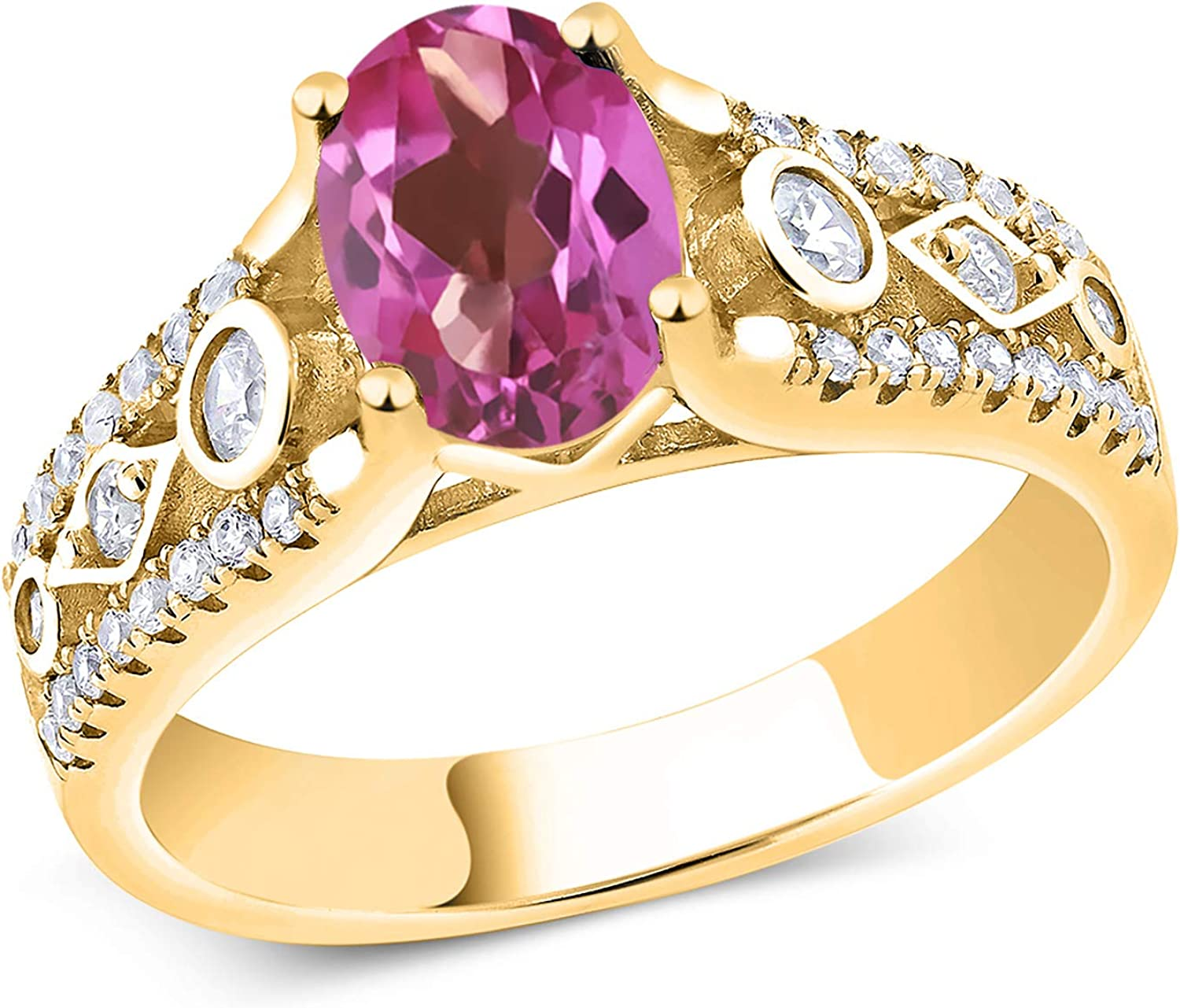 Gem Stone King 1.86 Ct Oval Max 68% Ranking TOP5 OFF Pink Yellow 18K Gold Pl Topaz Mystic
