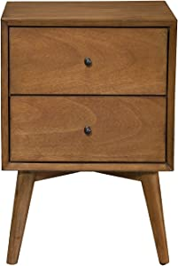 "Alpine Furniture Flynn Mid Century Modern 2 Drawer Nightstand, 15"" L x 18"" W x 26"" H, Acorn"