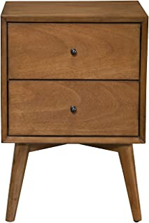 Alpine Furniture Flynn Mid Century Modern 2 Drawer Nightstand, 15