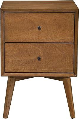 Amazon Com Alpine Furniture Flynn Mid Century Modern 2 Drawer Nightstand 18 W X 15 D X 26 H Acorn Furniture Decor