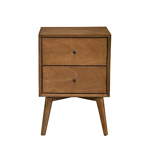 9ec57a6385ad Alpine Furniture 966-02 Flynn Mid Century Modern 2 Drawer Nightstand
