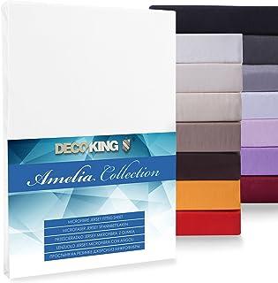 DecoKing Spannbettlaken Drap Housse, Microfibre, Weiß, 80x200-90x200