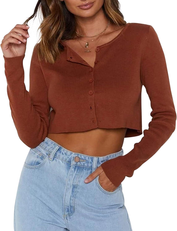Meladyan Women Button Down Round Neck Crop Tshirt Ribbed Knit Slim Fit Long Sleeve Crop Cardigan Shirt Top Casual Jumper