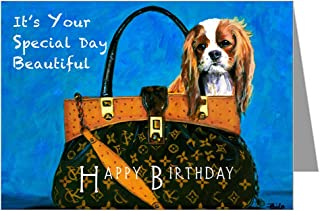 Single Greeting Card of Vintage King Charles Cavalier in a Hand Bag Painting Original Artwork By Philo Happy Birthday Card
