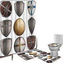Juego de cortinas baño Accesorios baño alfombras Medieval Alfombrilla baño Alfombra contorno Cubierta del inodoro Conjunto de escudos Patrón de cruz triangular Protección de armas antiguas Diseño rúst