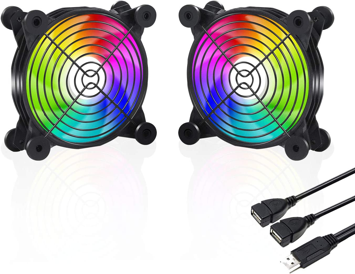 upHere U1206 USB Fan Dual-Ball Bearings Rainbow LED Silent 120mm Fan for Computer Cases Computer Cabinet Playstation Xbox Cooling
