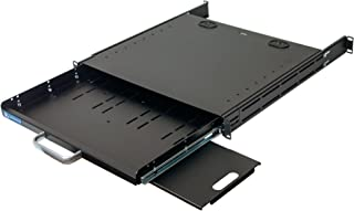 RSF1111BK21F4K2 1U Compact Rack Mount Keyboard Drawer with Retractable Mouse pad for Either Right or Left Hand Operator Supports 2 Post and 4 Post Rack from 15 inch up to 31 inch Depth Rack Cabinet