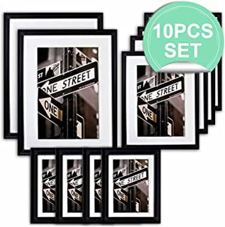 THE Display Guys 10 Piece Matte Black Solid Pine Wood Photo Frame Set, Two 11x14 Inch, Two 8x10 Inch, Six 5x7 Inch, With White Core Mat Boards And Picture Collage Mat Boards, Luxury Made Affordable