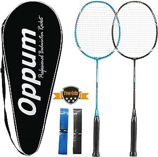 oppum 100% Full-Carbon Fiber Professional 2 Player Badminton Racquets Set Super Lightweight Badminton Rackets Including 2 Rackets/1 Carrying Bag/2 Overgrips