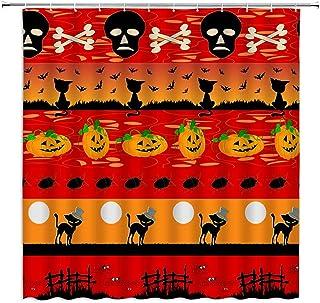 Halloween Shower Curtain Skull Skeleton Black Cat Bat Pumpkin Moon Spider Red Orange Tombstone Ghost Cartoon Geometric Spl...